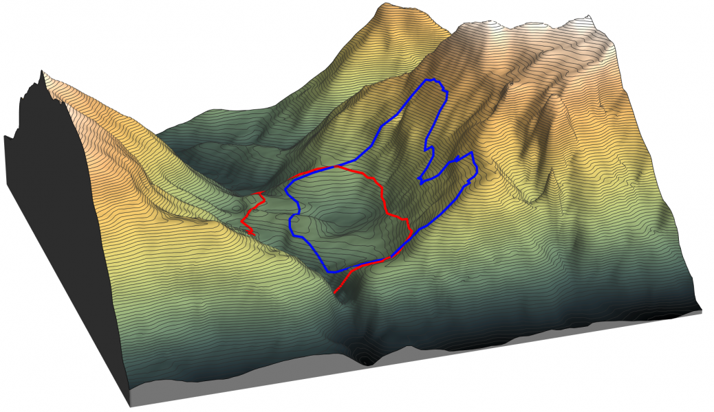 3D view of the topography of the Vajont landslide. In blue is plotted the limit of the sliding surface and in red, the limit of the final deposits